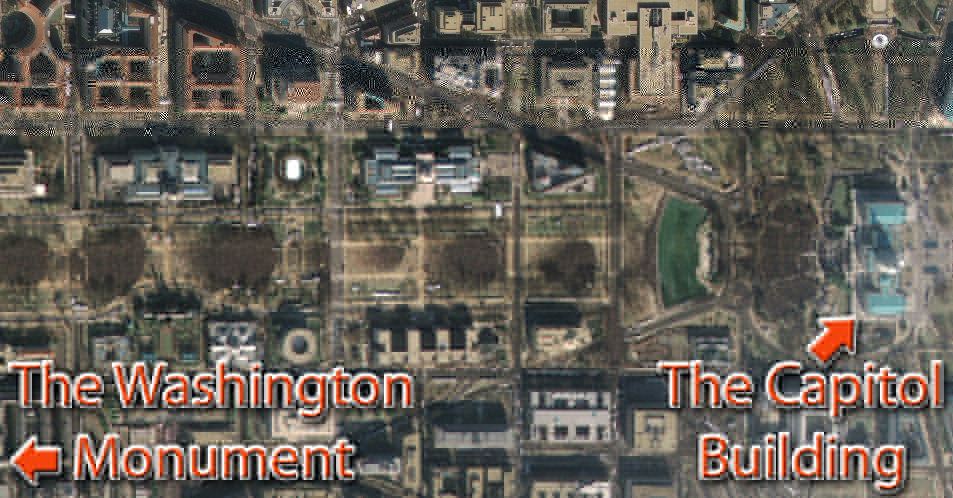 Satellite image of crowds on the National Mall (Jan. 20th, 2009), courtesy: GeoEye for CNN. Satellite images were unavailable for this year's inauguration due to heavy cloud cover.